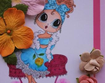 Birthday Card; Girlfriend Birthday Card, Sherri Baldy Design, Copic Colored Girl , All Dressed Up Birthday Girl, Friendship Card