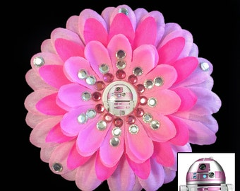 R2-KT The Force Awakens Pink Penny Blossom Rhinestone Flower Barrette