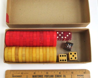 Bakelite Backgammon Set - Vintage Marbled Red & Yellow w/ Dice in Box