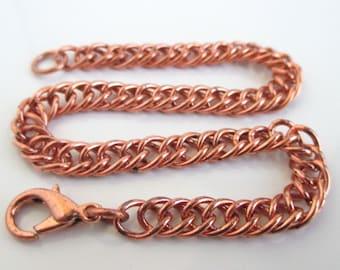 """9"""" Solid Copper Link Bracelet - Vintage Unworn w/ Lobster Clasp"""