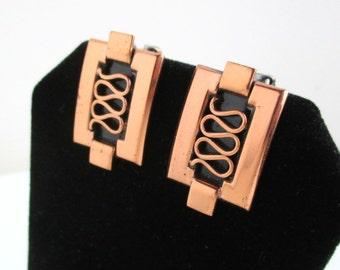 RENOIR Copper Earrings - Vintage, Grecian Pattern
