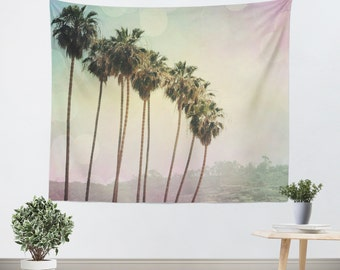 Palm Tree Tapestry - Rainbow Colors - California Tapestry - Beach Tapestry - Multi Colored Art - Tapestry - Colorful Tapestry
