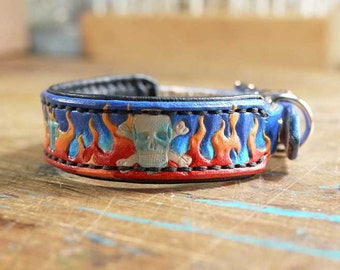 Small Padded Leather Dog Collar with Custom Design - Personalized Leather Dog Collar - Skulls Dog Collar with Name - Pad Dog Collar