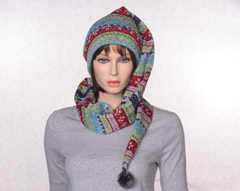 Knitting Pattern For Hat With Long Tail : Fair isle stocking Etsy
