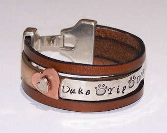 Pet Name Leather Cuff Bracelet - Personalized - Your Choice of Words - Hand Stamped - Metal Stamped - Pet Bracelet - Pet Memorial -Paw Print