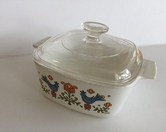 """Vintage Corning Casserole with Lid 9""""x5""""/ Corning Hand painted bird and flower Casserole with Lid Kitchenware/ Vintage casserole"""