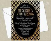 Gold Roaring 20's Birthday Invitation - Gold Great Gatsby Invitation - Adult Birthday Invitation