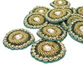 Teal Green Indian Beaded Floral Appliques Sewing Bullion Stone Green Appliques Royal Applique Craft Supply Beaded Patches By 1 Pair RAP356F