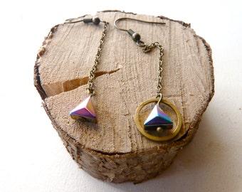 Triangle geometric earrings and rainbow maker ( multicolor, rain, french, wild, cheyenne, southwest ) 09