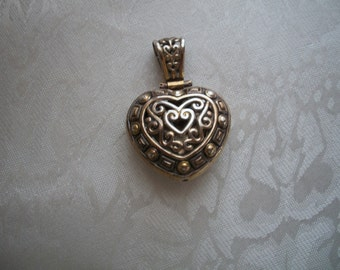 Large Silver & Gold Double Sided Heart Pendant, by Nanas Vintage Shop on Etsy