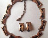 Vintage Modernist Renoir Demi Parure Necklace Earrings