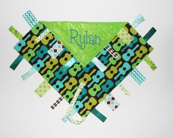 PERSONALIZED Guitar Ribbon Tag Sensory Blankie with Pacifier Clip Large 16 x 16 Teal, Turquoise, Lime Minky