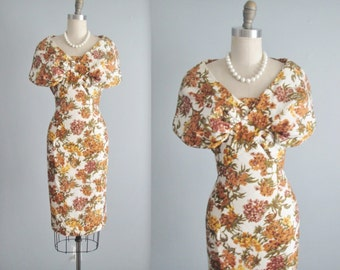 50's Wiggle Dress // Vintage 1950's Saks Fifth Ave. Floral Silk Garden Cocktail Party Dress S