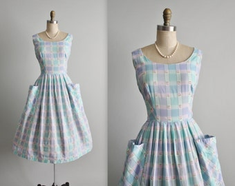 50's Plaid Dress // Vintage 1950's Aqua Plaid Cotton Garden Party Summer Day Dress M