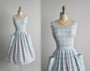 STOREWIDE SALE 50's Plaid Dress // Vintage 1950's Aqua Plaid Cotton Garden Party Summer Day Dress M