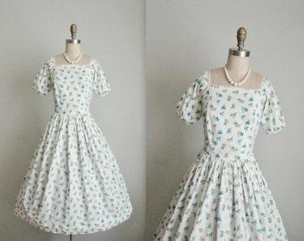 STOREWIDE SALE 50's Floral Dress // Vintage 1950's Floral Print Cotton Summer Garden Party Dress XS