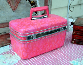 Vintage Hot Pink Samsonite Silhouette Makeup / Train Case / Carry On / Overnight Suitcase: Marbled Hardside Mod Jet Set Luggage, EXC. COND.