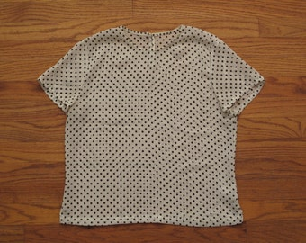 womens vintage silk polka dot blouse