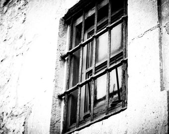 Rustic Abstract Black and White Fine Art Photography 8 x 12 or 8 x 10 - Behind Bars No. 2