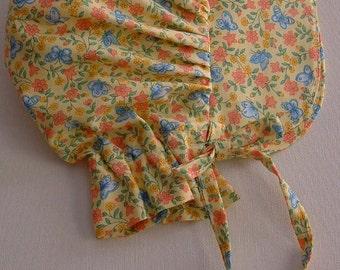 Baby Bonnet, yellow Calico Sun Bonnet,  Pioneer Bonnet, Baby Girl Bonnet, Toddler Bonnet -  Ready to Ship
