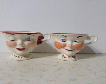 Cute Kitsch Winking Teacups 1950's