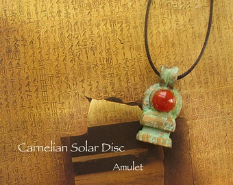 Carnelian Solar Disc Amulet - Ancient Egyptian Protective and Creation Symbol - Sun God Ra - Handcrafted Clay Pendant - Brass Patina Finish