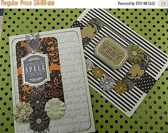 2 Vintage Inspired Halloween Cards - Blank Greeting Card - Black Orange - Be Afraid - Put a Spell on Me