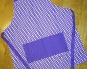 Childs apron lavender polka dots little apron small size art smock bib apron children's apron