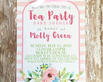 printable tea party baby shower invitations, pink stripe baby shower tea party invite, watercolor floral baby shower invites