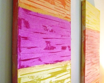 Abstract Wall Art Yellow Fuschia Salmon Gold Orange Set of Two Canvas Girls Room Contemporary Modern 8 x 24 Office Home Decor Girls Room