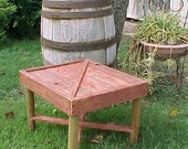 Table - Country Primitive Small BARN-DooR Style - Patio Side Table ~ FRee SHiPPiNG! ~ Distressed Redwood Stained - C Photos & Details