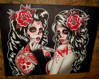 ORIGINAL PAINTING - Day of the Dead Sugar Skull Pin Up Girls Portrait Watercolor Painting - The Betrayal by Carissa Rose 11x14 inches