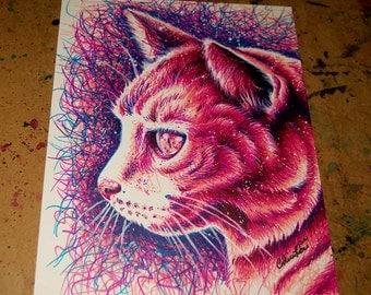 ORIGINAL DRAWING Kitty Pop Art Artwork 8 x 10 in. Pink and Blue Feline Cat PopArt Kitty Cat Decor Marker Illustration