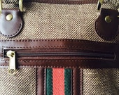Travel Boston Bag with detailed striped center