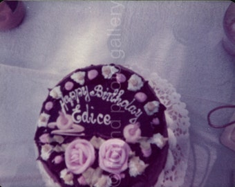 Vintage Photo, Birthday Cake, Chocolate Icing, Color Photo, Found Photo, Snapshot, Pink Icing Roses, Happy Birthday, Food Photo