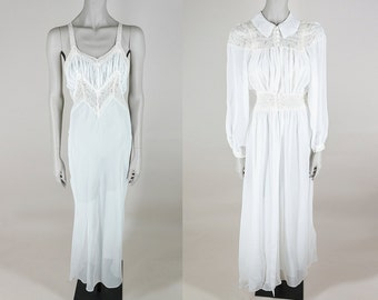 Vintage 30s Nightgown / 1930s Sheer White Rayon Chiffon and Cream Lace Peignoir Set S