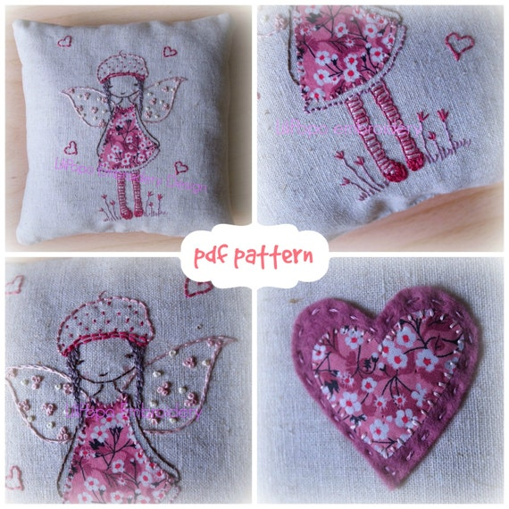 fairy cushion embroidery pattern and cushion tutorial