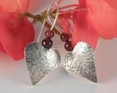 Cyber Monday Sale Silver Heart Earrings , Christmas Gift For Women Garnet Earrings Sterling Silver Earrings , Heart jewelry , Gift for Teens