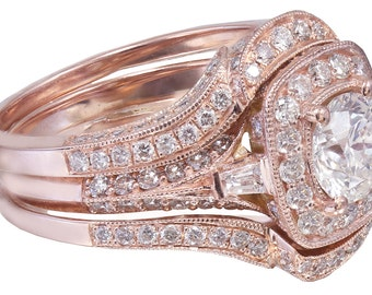 14k Rose Gold Round Cut Diamond Engagement Ring And Bands Halo Filigree 2.70ctw H-SI1 EGL USA