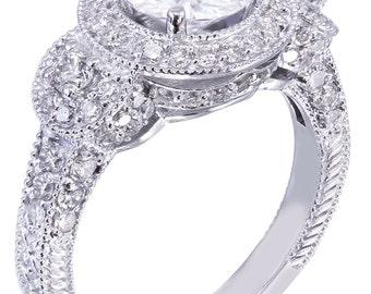 18K White Gold Round Cut Diamond Engagement Ring Deco Halo 2.80ctw I-SI1 EGL USA