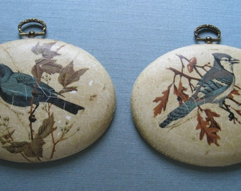 Blue Jay and Black Bird Oval Plaques / Hand Made Wall Art / Two Vintage Plaques