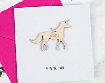 Personalised Unicorn Keepsake Card