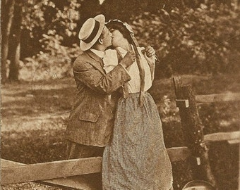 Romantic Kiss – Stealing a Kiss From the Milk Maid ~ Vintage Postcard – Cream Separator 1910