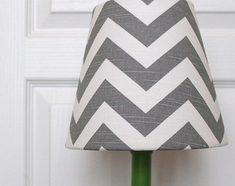 Grey and White Chevron Kids Lamp Shade