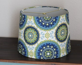 Bold Pattern Blue, Green, & Yellow Large Modern Drum Lamp Shade