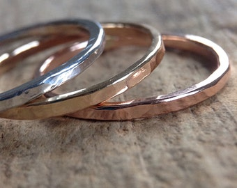 Stacking Rings, TriColor Ring Stack, 3 Ring Set, Mixed Metal Rings, Skinny Rings, Stackable Rings, Silver Rings, Gold Rings