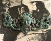 Gothic Figural Brass Pull Assemblage Pendant - Homemade Verdigris Painted Patina - Vintage Drawer Pull - Ornate Old Hardware - Altered Art