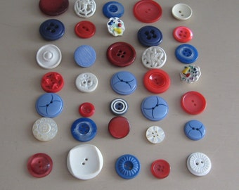 Buttons Vintage Red, White and Blue Variety of styles