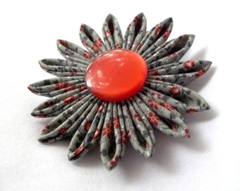 Red and Gray Kanzashi Hair Flower Fabric Origami Barrette