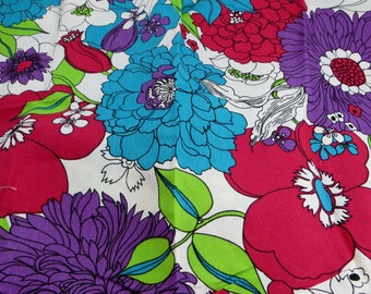 Vintage Fabric Panel Big Bold Floral Design S.C. Corp Purples Reds and Green Lovely Vintage Fabric Panel